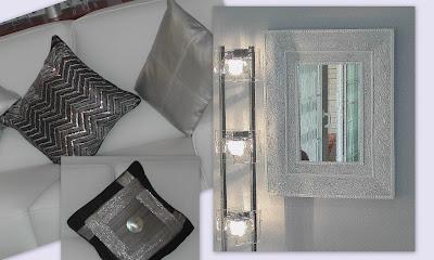 su nueva decoracin es tonos blancos grises toques de negro y plateado y conforme a eso reform el marco del espejo