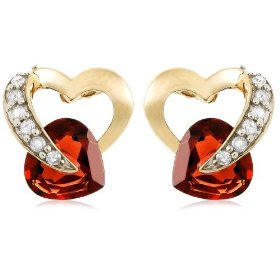 Yellow Gold Diamond and Garnet Heart Shaped Earrings