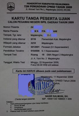 Kartu Tanda Peserta Ujian CPNS kab Majalengka 2009