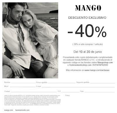 Descuento del 40% en Mango hasta el 20 de junio
