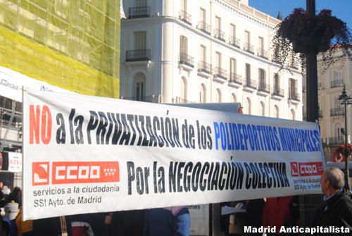 [FOTOS] Huelga y concentración de los trabajadores de las instalaciones deportivas municipales de Madrid 3