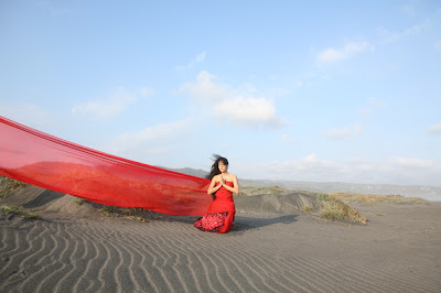 Dian Sastrowardoyo in red