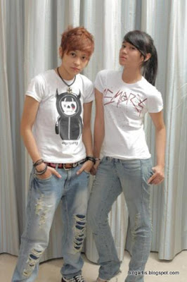 Mita and Dara of The Virgin Pose in T-Shirt and Blue Jean