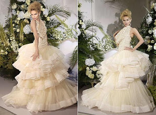 Natasha Poly wearing a tulle ball gown at the Christian Dior haute couture show @ the fashion escapist