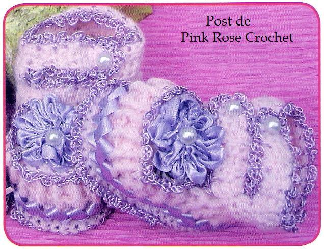 Sapatinho De Croche P Bebe 30   PRose Crochet JPG