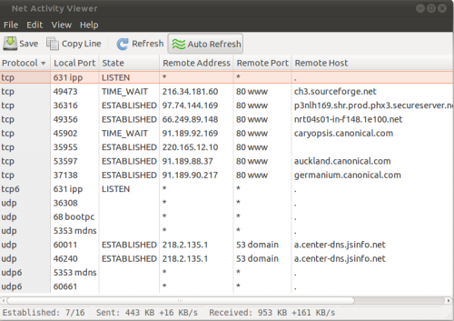 Netactview A Graphical Network Connections Viewer for Ubuntu