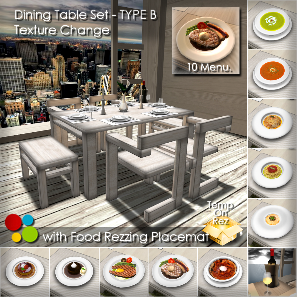 off-brand Furniture in Second Life: Dining Table Set - TYPE B ...