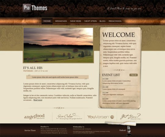 Old Victorian PSD Template