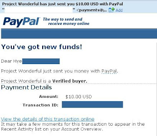 How To Make Money With Project Wonderful Proof of Payment
