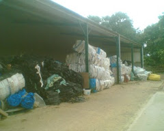 Waste Plastic Bales Await Collection