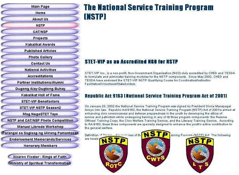 module nstp 1 The need for preparing the youth for their duties as citizens via the national  service training program (nstp) cannot be overemphasized as embodied in.