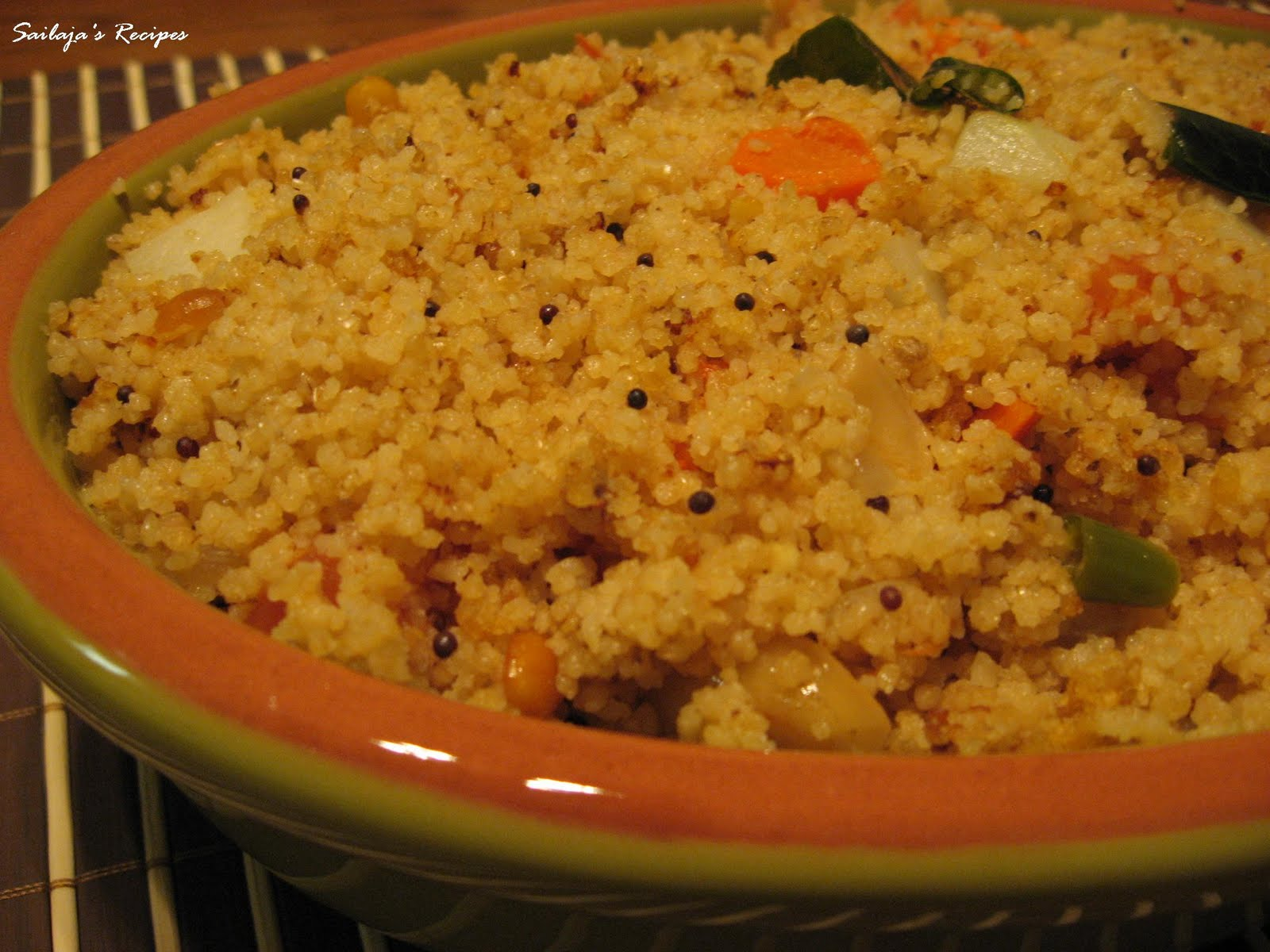 Sailaja 39 s recipes couscous upma Something different to make for dinner