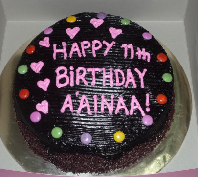 GG Home Biz Cakes Wedding Cakes Choc Moist Birthday Cake for Aainaa