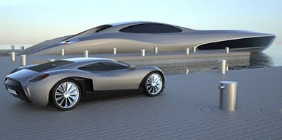Together we share mega yacht with a supercar in equipment for Case futuristiche
