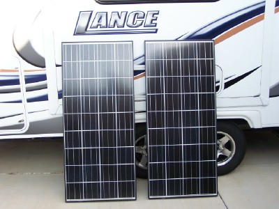 2010 lance model 1685 inverter solar installation we had two kyocera kd135sx upu 135w 12v solar panels j box s installed on unirac 990013 rv racks w folding tilt legs this allows us the option to