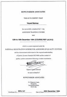 Prof. Dr. Veysel Batmaz'ın ISO-9000 Eğitim Sertifikası