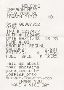 ScootMaryland: Gas Receipt Friday!