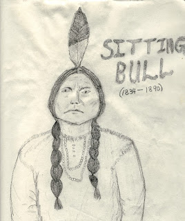 Sitting Bull, drawn in 1984 from an 1885 photo
