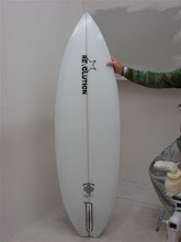 Roger Hinds holding an unfinished 6'6'' Lazor Zap he did for us