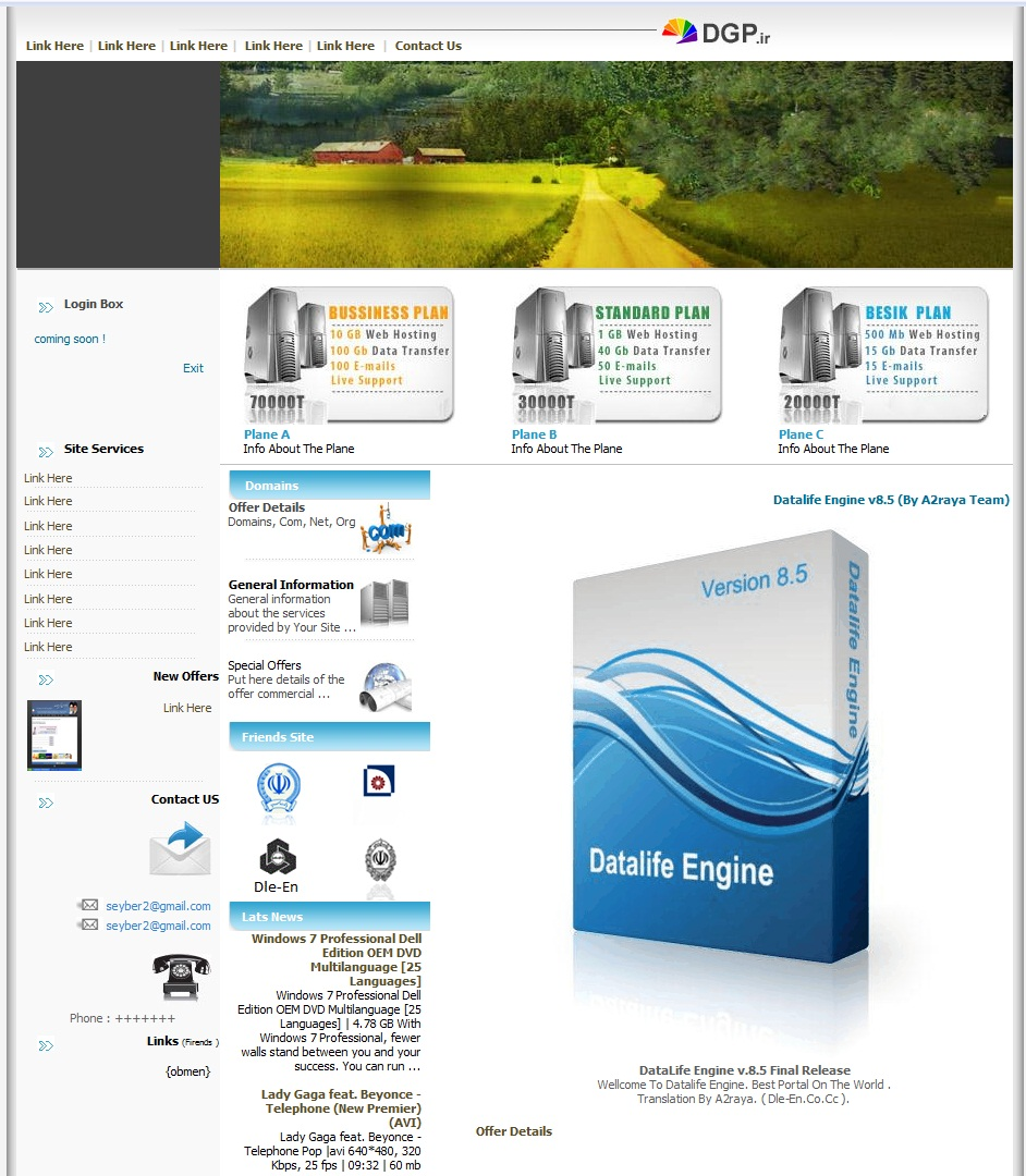 Hosting Template For DLE ~ Datalife Engine Support