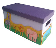 Toys Box with animal hand painted 35x15x20