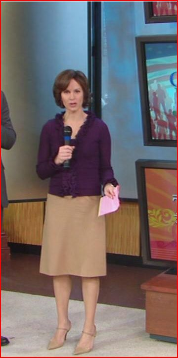 Elizabeth Vargas   Purple Ruffled Blouse