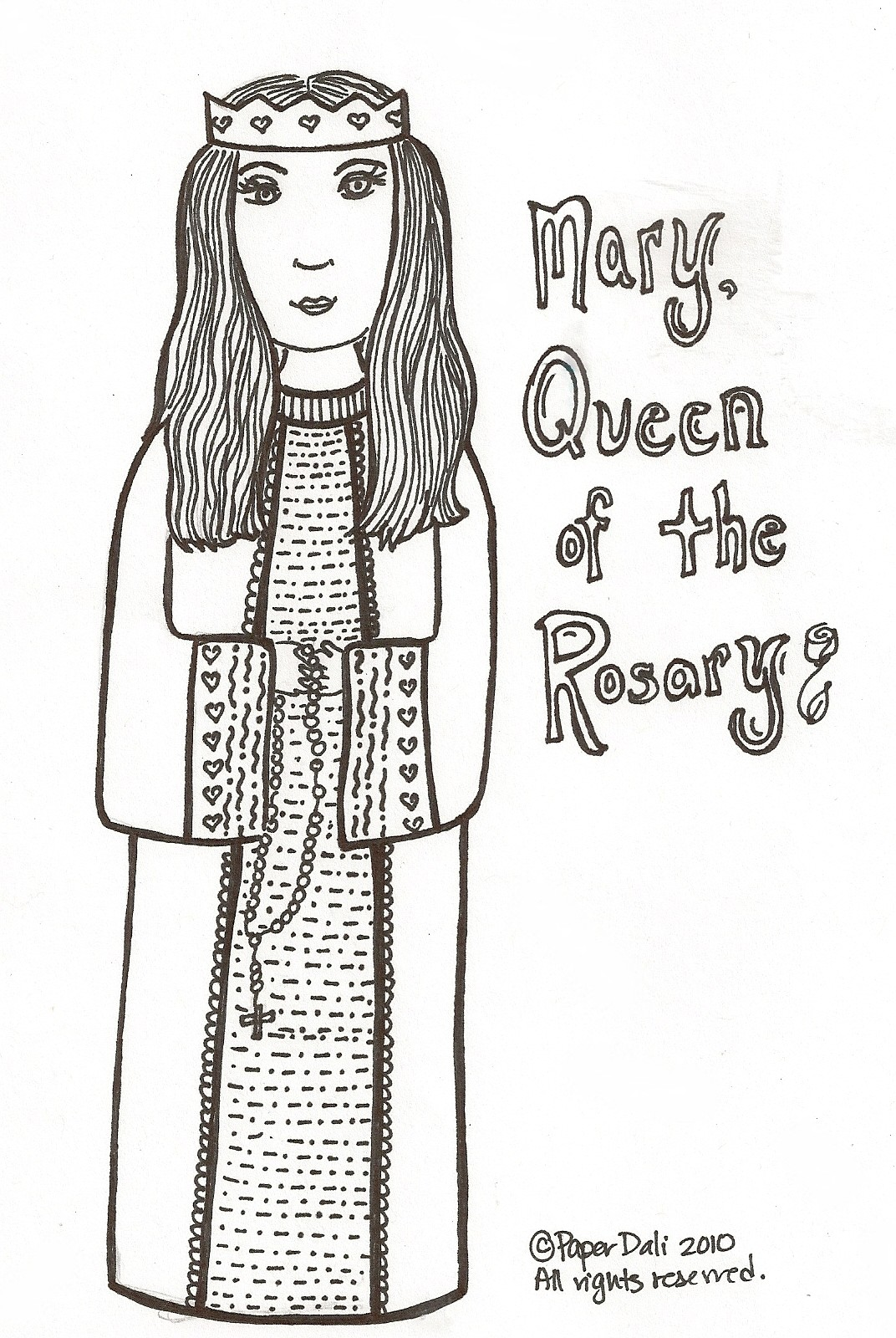 Printable coloring pages virgin mary - Mary Queen Of The Rosary Maria La Reina Del Rosario