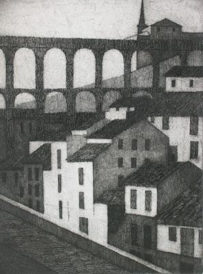 Acueducto de Segovia, grabado de Salvador Manzanera