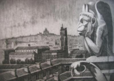 Le diable de Notre Dame de Paris, grabado de Salvador Manzanera