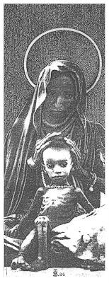 Virgen con Niño, felicitacion de Navidad de Salvador Manzanera