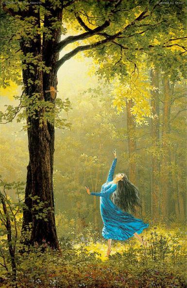A Guardiã dos Livros e o Conde --Capitulo II- O Condado Grav_mulher_vestido_azul_floresta