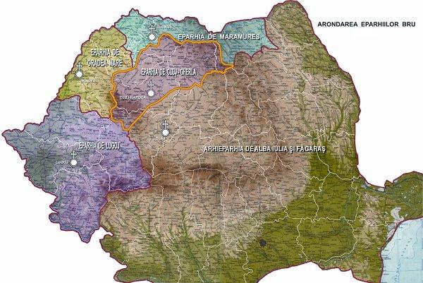 Harta cu Biserica Romana Unita cu Roma Greco-Catolica