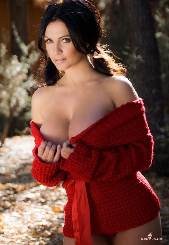 Denise Milani in  Red Sweater glamour images
