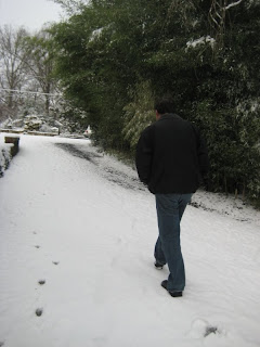Dan walking up the driveway