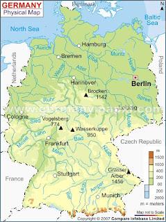 Alemania Mapa Montaas