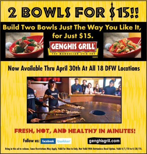 Penny Pinching Pixie: 2 Bowls for $15 at Genghis Grill ALL DFW ...