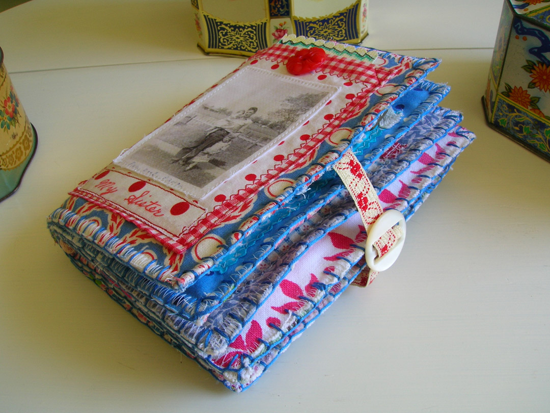 A Fabric Book Cover ~ Threads in time by pallas photo fabric collage book for