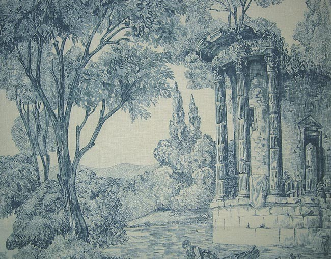 Toile with architectural pattern toile de jouy - Papel pintado toile de jouy ...