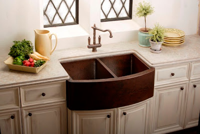 let your copper sink have center stage and get stainless appliances - Kitchen Sink Appliances
