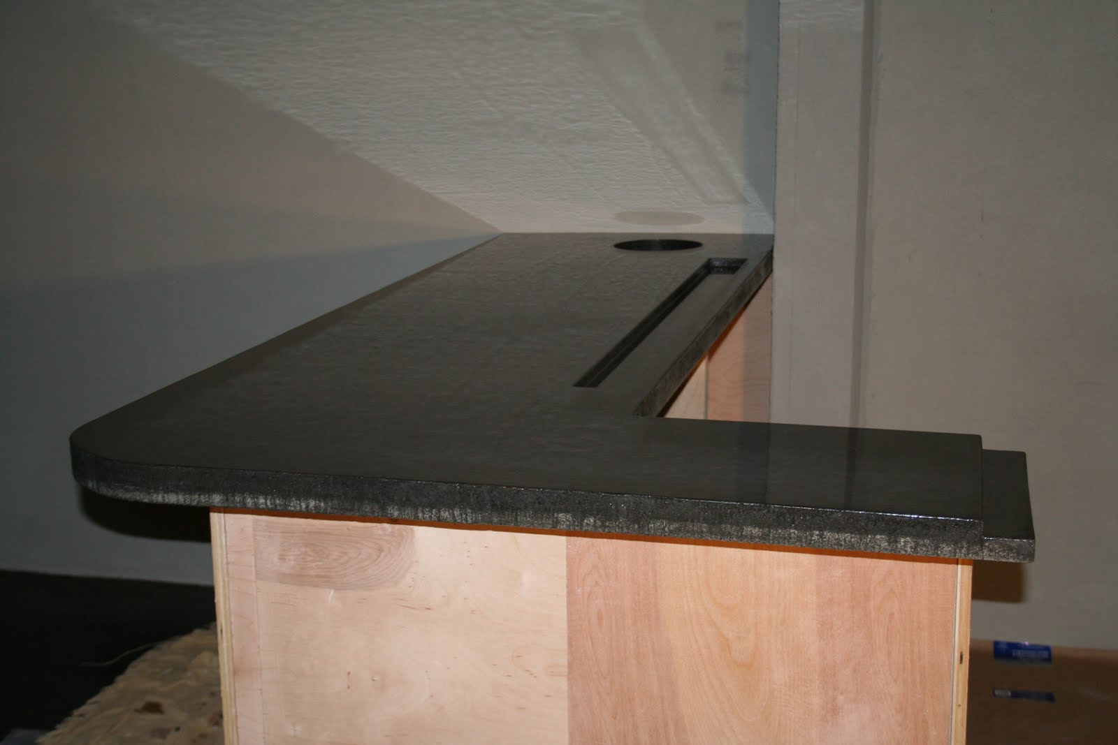 Drew Brown Concrete Staining Basement Bar With Drink Rail