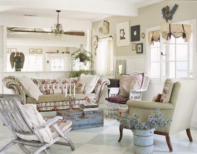 Shabby Living Room White Tone