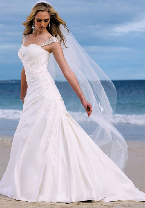 A Line White Wedding Dresses