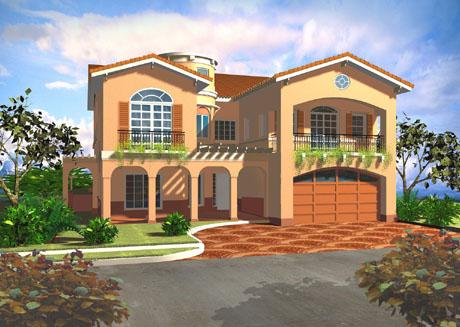 Mediterranean Home's Exterior Offers A Unique Look