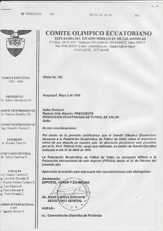 PARTIDA DE NACIMIENTO DEL FUTBOL DE SALON DEL ECUADOR