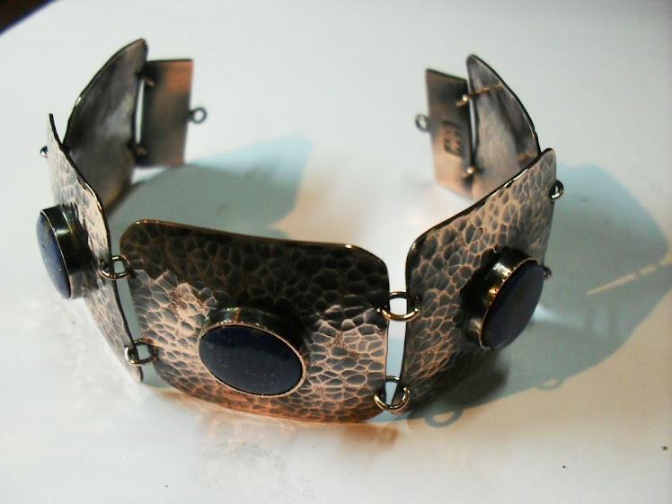 pulsera cobre engaste lapislazuli