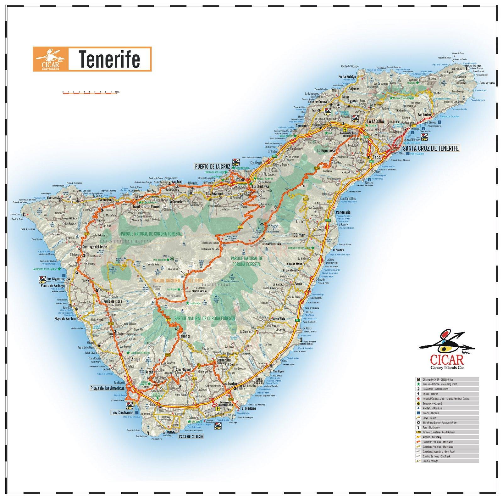 MAPA ISLA DE TENERIFE