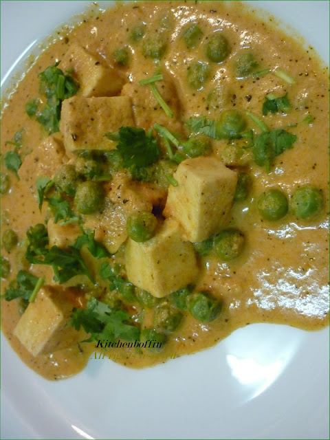 Paneer Mutter Masala(Paneer & Green peas in creamy sauce)