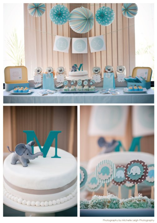 Swanky blog baby elephant makes a perfect baby shower theme for Baby boy shower decoration kits