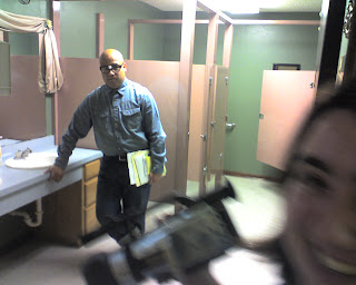 Behind the scenes - yes, we filmed this in the ladies' bathroom