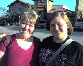 Lori and Joy in front of Johnny Carino's on our way home from Houston.